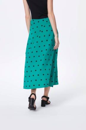 Green Polka Dot Midi Skirt