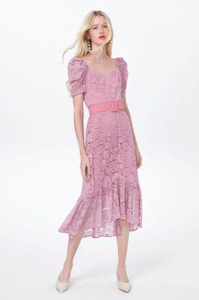 Belted Lace Midi Dress