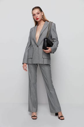 Piped Houndstooth Blazer