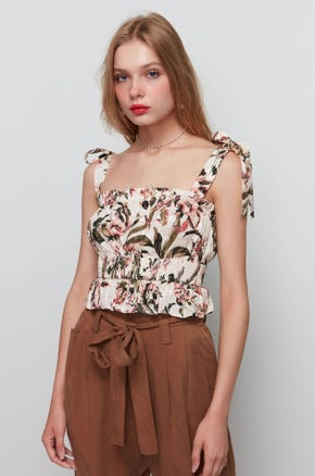 Shirred Floral Tank Top