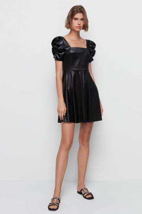Faux Leather Babydoll Dress