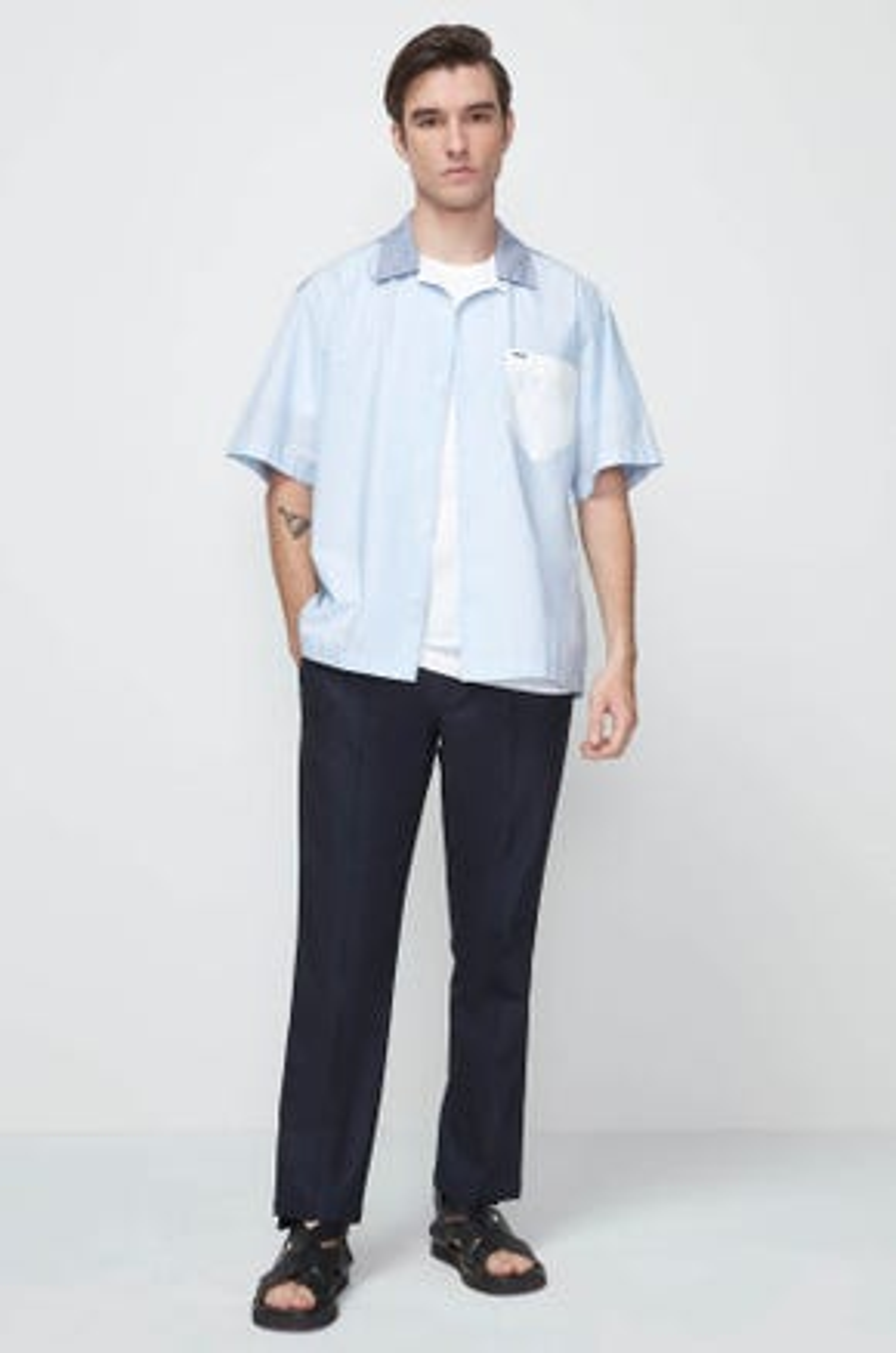 Mixed Fabric Resort Shirt