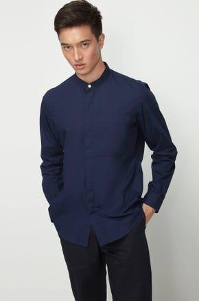 Stand Collar Poplin Shirt