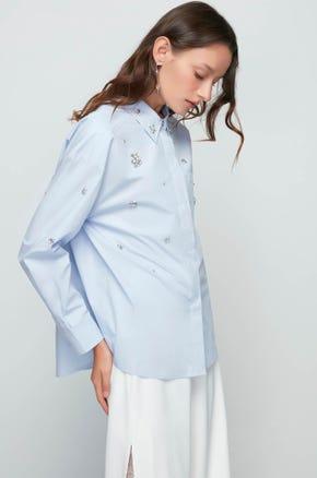 Blue Sparkle Work Shirt