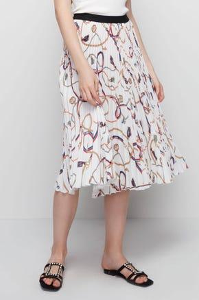 Printed Pleated Mini Skirt