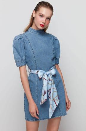 Puff Sleeve Denim Dress