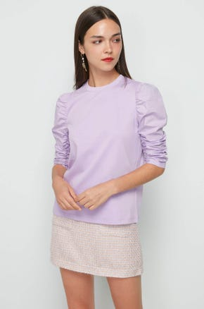 Mixed Fabric Puff Sleeve Top
