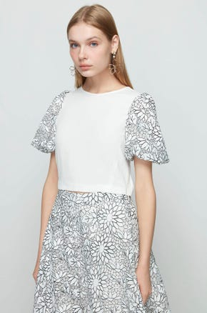 White Floral Sleeve Blouse
