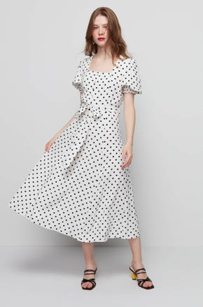 Polka Dot Tie Waist Dress