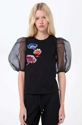 Embroidered Puff Sleeve T-Shirt