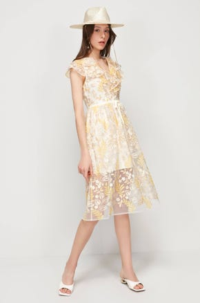 Embroidered Floral Midi Dress
