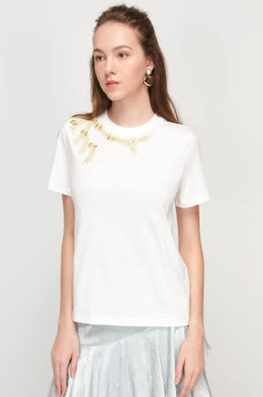 Gold Embroidered T-Shirt