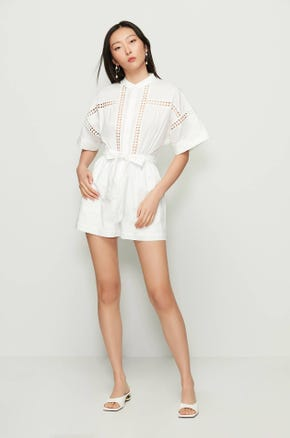 Tie Waist Cut Out Romper