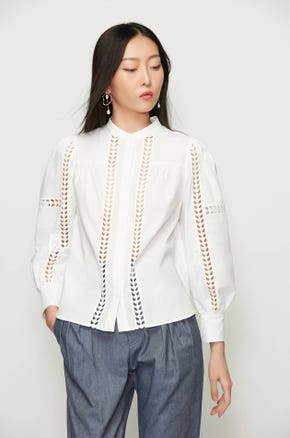 Cut Out Stand Collar Blouse