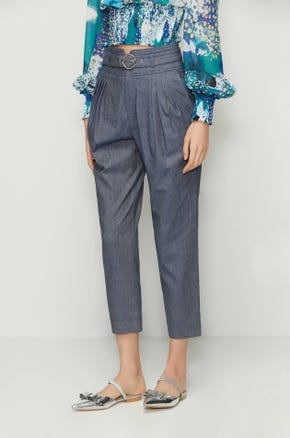 Cropped Chambray Pants
