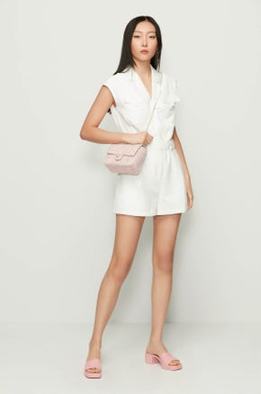 White Lapel Collar Romper