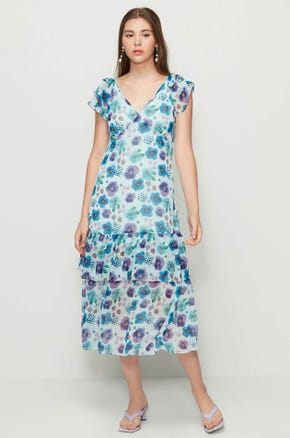 Floral Dropped Waist Midi Dress