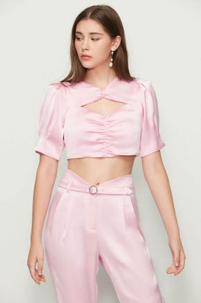 Ruched Cut Out Crop Top