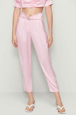 Pink Belted Ankle Pants