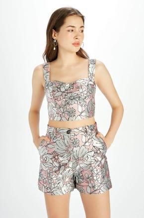 High Waist Floral Print Shorts