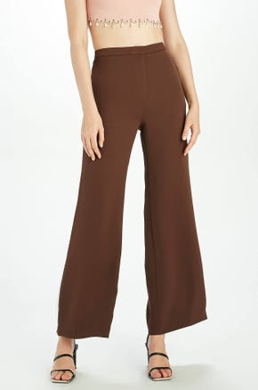 Brown High Waisted Flare Pants
