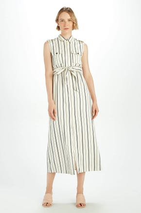 Striped Sleeveless Tie Waist Dress