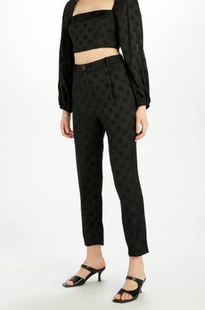 Tonal Polka Dot Ankle Pants