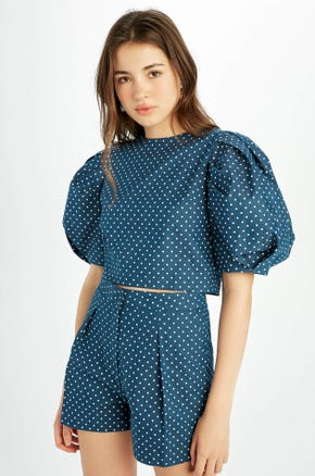 Blue Polka Dot Puff Sleeve Blouse