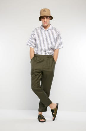 Button Pocket Linen Pants