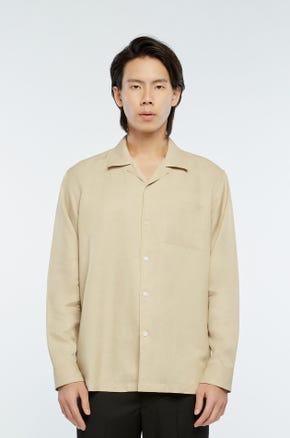 Beige Cuban Collar Shirt