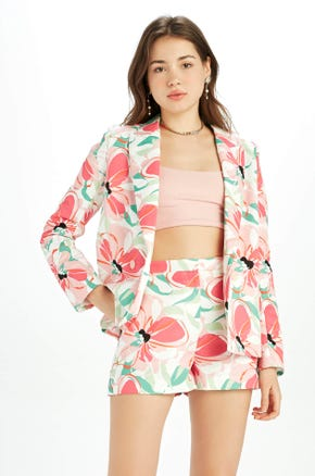 Double Breasted Floral Blazer
