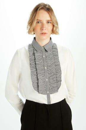 Striped Ruffle Front Shirt