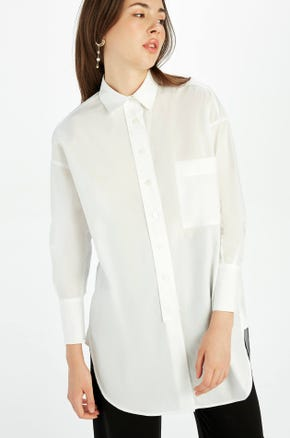 White Split Hem Shirt