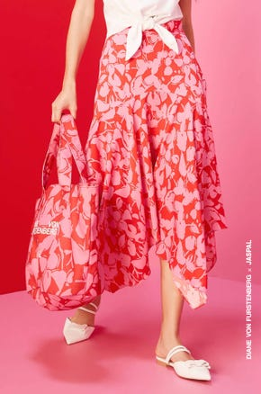Flower Shadow Asymmetric Skirt