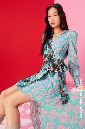 Contrast Floral Wrap Dress
