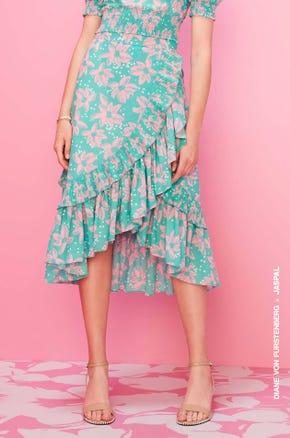 Green Floral Ruffle Midi Skirt