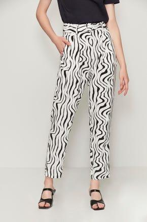Belted Zebra Print Pants