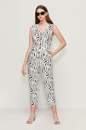 Sleeveless Zebra Print Jumpsuit