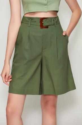 Belted Wide Leg Linen Shorts