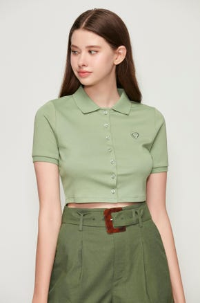 Cropped Button Up Polo