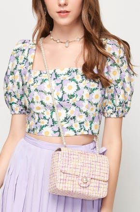 Purple Cropped Floral Blouse