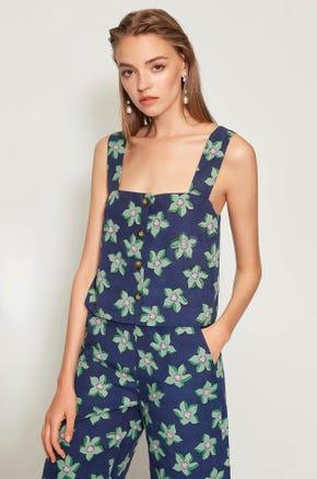 Floral Print Linen Tank Top