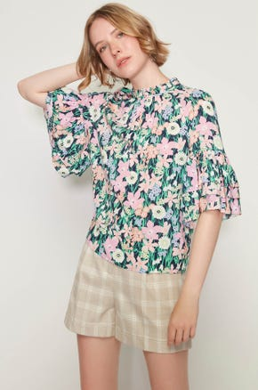 Floral Tiered Sleeve Blouse
