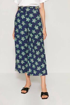 Floral Print Linen Culottes
