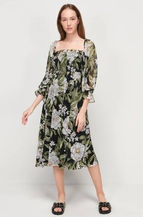 Shirred Floral Midi Dress
