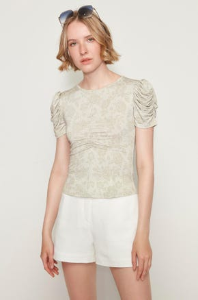 Ruched Floral T-Shirt