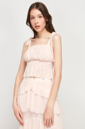 Pink Shirred Ruffle Top
