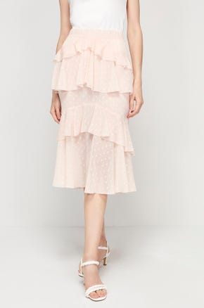 Pink Ruffle Midi Skirt