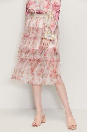 Tiered Floral Midi Skirt