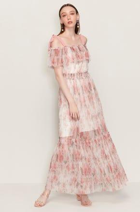 Pink Shoulder Tie Maxi Dress